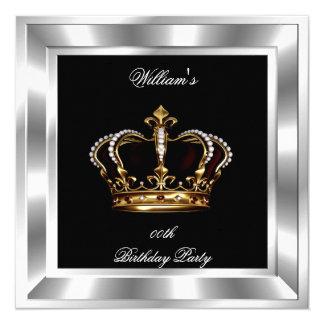 Men's Elegant Black Silver Birthday Prince King 13 Cm X 13 Cm Square Invitation Card