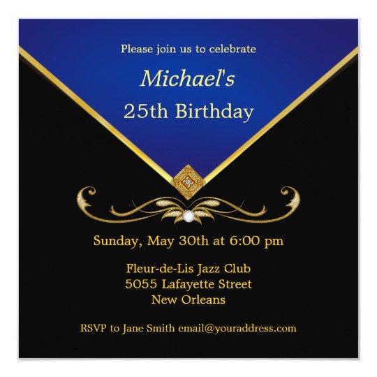 Men's Elegant Gold Blue Birthday Party Invitations