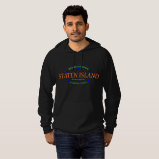 Men's Fleece Blk Pullover Hoodie /Staten Island