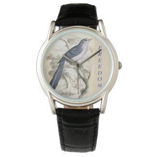 Men's FREEDOM/BLUE BIRD Blk leather Strap Watch
