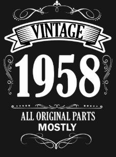 Mens Funny Vintage 1958 60th Birthday Shirt