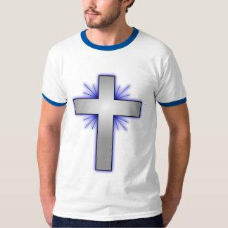 Men's Gray Cross, White Basic Blue Ringer T-Shirt