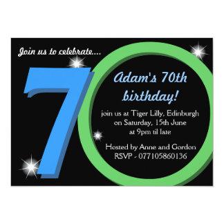 Mens Green / Blue Seventieth 70th Birthday Party 14 Cm X 19 Cm Invitation Card