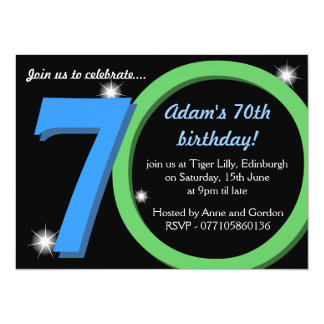 Mens Green / Blue Seventieth 70th Birthday Party Card