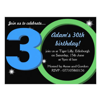 Mens Green Blue Thirtieth 30th Birthday Party Personalised Announcements