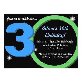 Mens Green / Blue Thirtieth 30th Birthday Party 14 Cm X 19 Cm Invitation Card