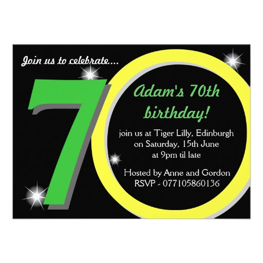 Mens Green / Yellow Seventieth 70th Birthday Party Announcements