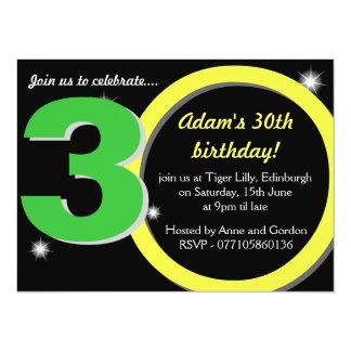 Mens Green / Yellow Thirtieth 30th Birthday Party 14 Cm X 19 Cm Invitation Card