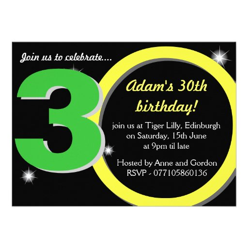Mens Green / Yellow Thirtieth 30th Birthday Party Personalised Announcements