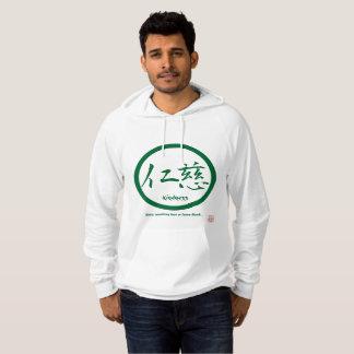 Mens hoodies with green kamon circle and kanji