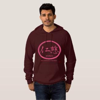 Mens hoodies with pink kamon circle and kanji