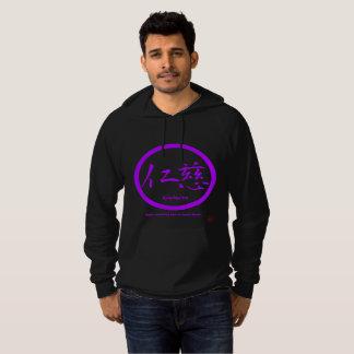 Mens hoodies with purple kamon circle and kanji