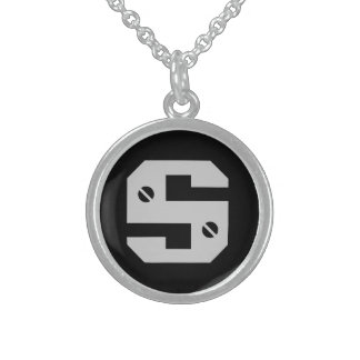 Men's Initial Round Pendant Necklace