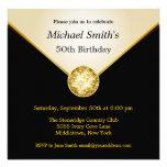 Mens Ivory Black Gold Elegant Birthday Invitations