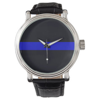 Men's Leather Strap Thin Blue Line Watch