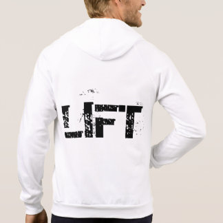 Mens Lifting Workout White Fleece Zip Hoodie