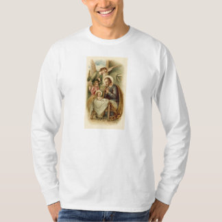 Mens Long sleeved T-Shirt: St. Joseph Nativity T-Shirt