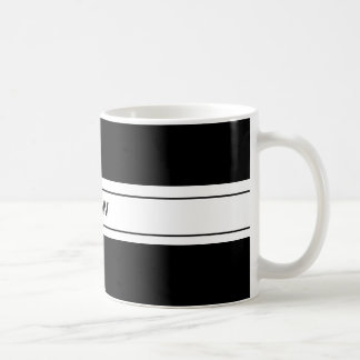 Mens Masculine Simple Black White Custom Monogram Basic White Mug