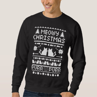 Men's Meowy Christmas Holiday Ugly Cat Sweater Pullover Sweatshirt
