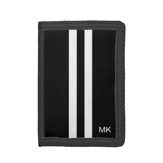 Mens Monogram Black and White Stripes Wallet