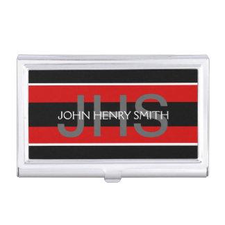 Men's monogram black white red business card holders