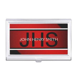 Men's monogram black white red case for business cards