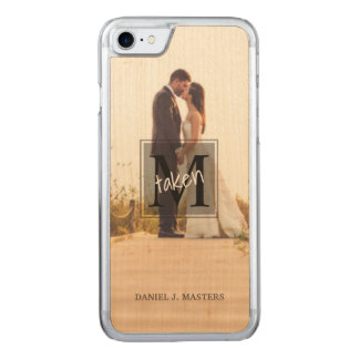 Men's Monogram Married Committed Couples Photo Carved iPhone 8/7 Case