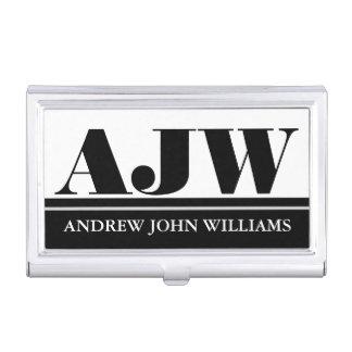 Men's monogram masculine black white business card holder