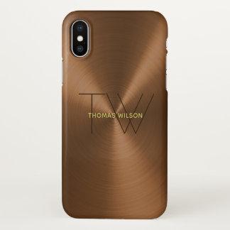 Men's Monogram Modern Minimalist Bronze & Gold iPhone X Case