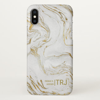 Men's Monogram Modern Minimalist Gold Marble iPhone X Case