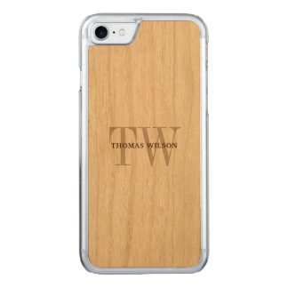Men's Monogram Modern Minimalist Real Wood Carved iPhone 8/7 Case