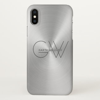 Men's Monogram Modern Minimalist Silverado Grey iPhone X Case
