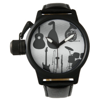 Men's Musical Instruments Black Leather Watch