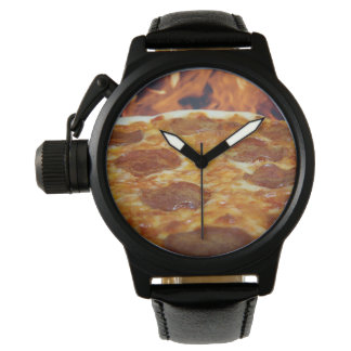 Men's Pizza Crown Protector Black Leather Watch