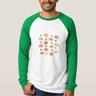 Men's raglan T-shirt with pumpkins and leaves