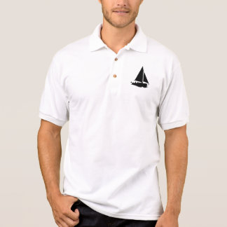 Men's Sailboat White Gildan Jersey Polo Shirt