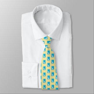 Men's silk dinosaur tie, yellow, turquoise tie
