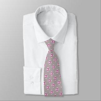 Men's silk tie, circles, mauve pink tie
