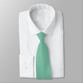 Men's silk tie, green flower irate tie