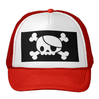 Men's Skull & Crossbones Pirate Trucker Hat. Cap