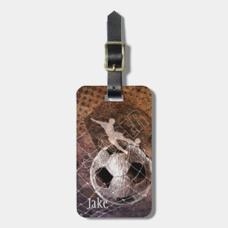 mens soccer grunge player kicking luggage tag