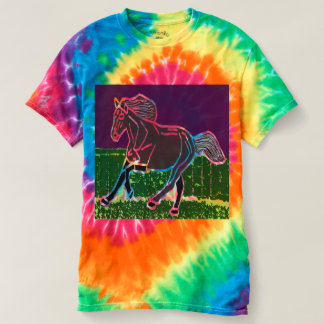 Men's Spiral Tie-Dye T-Shirt HORSE ANIMALS