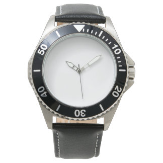 Men's Stainless Black Leather Strap Watch