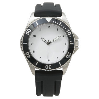 Mens Stainless Steel Black Rubber Strap Watch