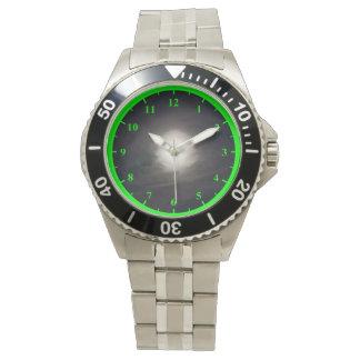 Men's Stainless Steel Bracelet Watch With Green Nu