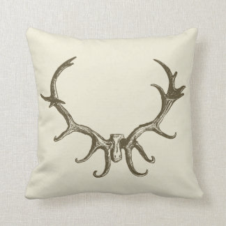 Men's Stylish Hunting Brown Deer Antler Retro Stag Throw Pillow