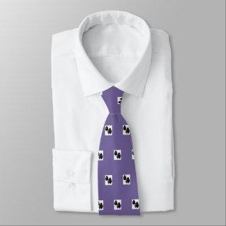 Mens sugar plum silk tie with black leaves