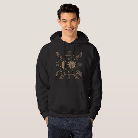 Men's sun and moon, spiritual hoodie design.