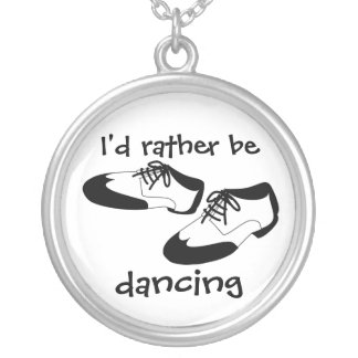 Mens Swing Dance Shoes Id Rather Be Dancing Spats Silver Plated Necklace