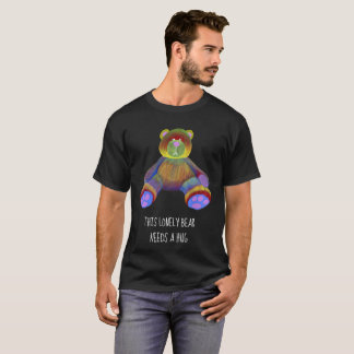 mens t-shirt black with teddy bear design